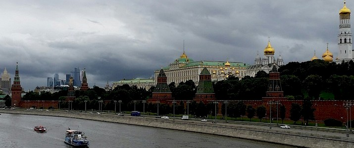 Moskva River with Kremlin and Moscow City